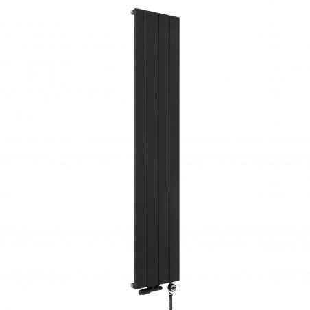 Grzejnik dekoracyjny pionowy Drama w kolorze czarnym o wymiarach 180x37 z zaworem termostatycznym zespolonym w figurze kątowej lewej, kolor czarny, oraz grzałką elektryczną MOA 600W czarną.