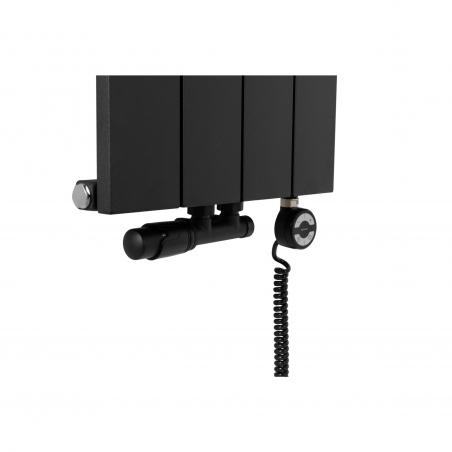 Zawór termostatyczny zespolony Multiflow w kolorze czarnym figura kątowa lewa, oraz grzałka elektryczna MOA 600W czarna podłączona do grzejnika dekoracyjnego pionowego Drama w rozmiarze 180x37 kolor czarny strukturalny.