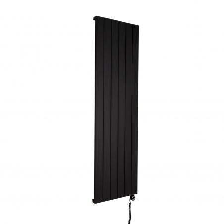 Grzejnik dekoracyjny elektryczny Drama 180x56 czarna struktura, z podłączoną grzałką elektryczną MOA 1000W czarną.