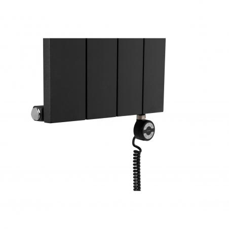 Grzałka elektryczna MOA 600W, na grzejniku dekoracyjnym Drama 180x37 czarnym.