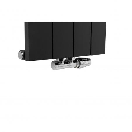 Zawór termostatyczny zespolony Twins figura prawa, chrom, na grzejnku dekoracyjnym pionowym Drama 180x37 w kolorze czarnej struktury.