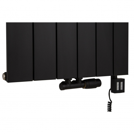 Zawór termostatyczny zespolony Multiflow w figurze kątowej prawej, w kolorze czarnym oraz grzałka elektryczna KTX4 1000W w kolorze czarnym podłączone do grzejnika dekoracyjnego Drama 180x56 czarnego.