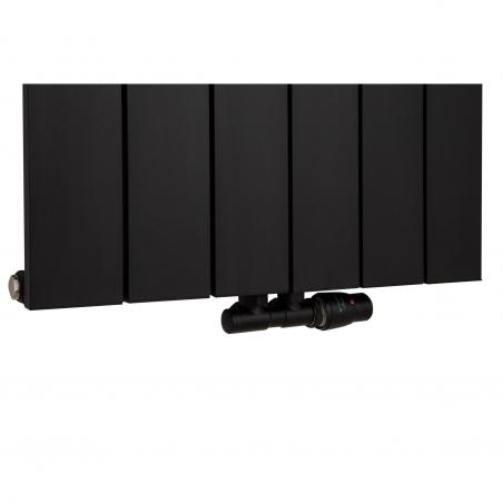 Zawór termostatyczny zespolony Twins figura kątowa prawa, kolor czarny, podłączone do grzejnika dekoracyjnego Drama 180x56 w kolorze czarnym.