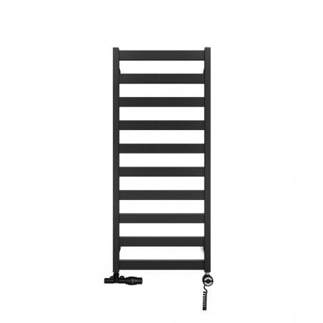 Grzejnik łazienkowy Terma Leda o wymiarach 115x50cm w kolorze czarnym matowym podłączenie dolne o rozstawie 470mm z zaworem zespolonym Unico z lewej strony i  z grzałką Terma Moa z prawej strony