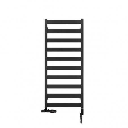 Grzejnik łazienkowy Terma Leda o wymiarach 115x50cm w kolorze czarnym matowym podłączenie dolne o rozstawie 470mm z zaworem zespolonym Unico z lewej strony i  z grzałką Terma One z prawej strony