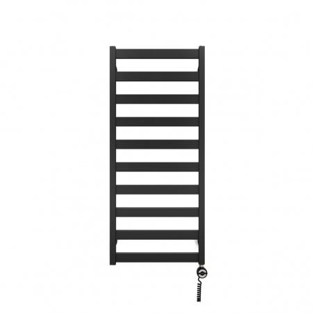 Grzejnik łazienkowy Terma Leda. Grzejnik wąski o szerokości 50cm i wysokości 115cm, kolor czarny, z podłączeniem dolnym o rozstawie 470mm z grzałką Terma Moa czarną 400W z prawej strony