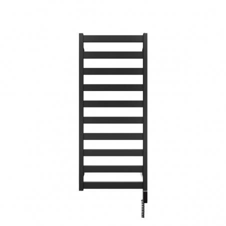 Grzejnik łazienkowy Terma Leda o wymiarach 115x50cm w kolorze czarnym matowym podłączenie dolne o rozstawie 470mm. Z grzałką Terma One