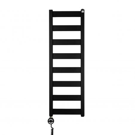 Grzejnik łazienkowy Terma Leda. Grzejnik wąski o szerokości 30cm i wysokości 91cm, kolor czarny mat, z podłączeniem dolnym o rozstawie 270mm z zamontowaną z lewej strony grzałką Terma Moa
