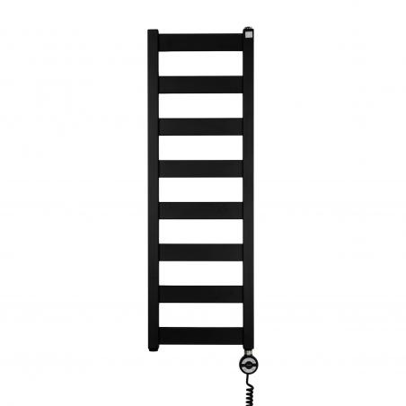 Grzejnik łazienkowy Terma Leda. Grzejnik wąski o szerokości 30cm i wysokości 91cm, kolor czarny mat, z podłączeniem dolnym o rozstawie 270mm z zamontowaną z prawej strony grzałką Terma Moa