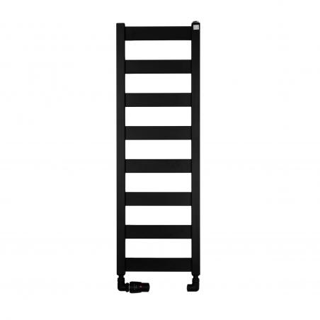 Grzejnik łazienkowy Terma Leda. Grzejnik wąski o szerokości 30cm i wysokości 91cm, kolor czarny mat, z podłączeniem dolnym o rozstawie 270mm z zestawem termostatycznym Vision w figurze osiowej lewej