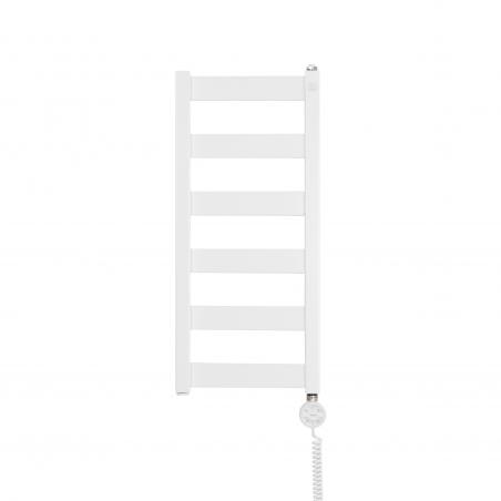 Grzejnik łazienkowy Terma Leda. Grzejnik wąski o szerokości 30cm i wysokości 67cm, kolor biały, z podłączeniem dolnym o rozstawie 270mm z zamontowaną z prawej strony grzałką Terma Moa