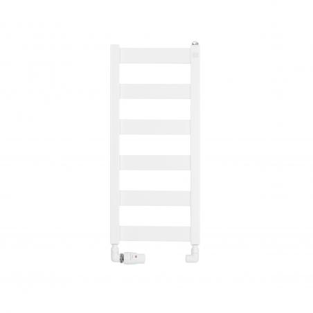 Grzejnik łazienkowy Terma Leda. Grzejnik wąski o szerokości 30cm i wysokości 67cm, kolor biały, z podłączeniem dolnym o rozstawie 270mm z zamontowanym białym zestawem termostatycznym Vision, figura osiowa lewa