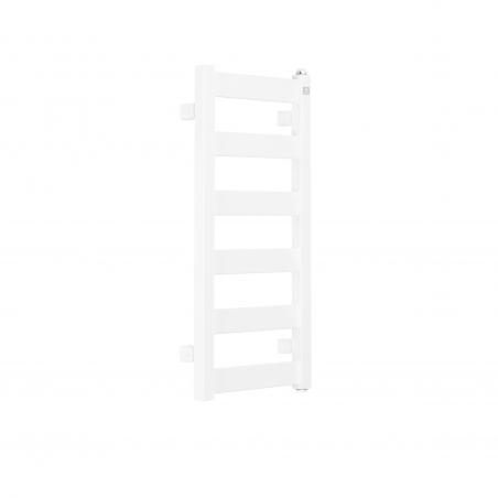 Grzejnik łazienkowy Terma Leda. Grzejnik wąski o szerokości 30cm i wysokości 67cm, kolor biały, z podłączeniem dolnym o rozstawie 270mm
