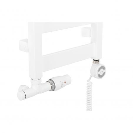 Przyłącze jednootworowe Unico oraz grzałka Moa, kolor biały, zamontowane na wąskim grzejniku łazienkowym Terma Leda o szerokości 30cm.