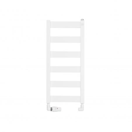 Grzejnik łazienkowy Terma Leda. Grzejnik wąski o szerokości 30cm i wysokości 67cm, kolor biały, z podłączeniem dolnym o rozstawie 270mm z zamontowanym białym zestawem zaworów Vision w figurze osiowej lewej