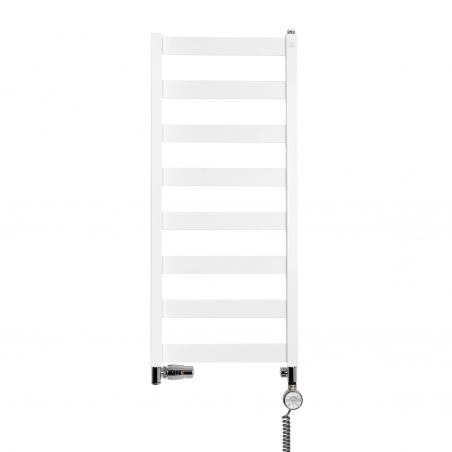 Grzejnik łazienkowy Leda o wymiarach 91x40cm w kolorze białym matowym z podłączeniem dolnym o rozstawie 37cm z chromowanym zestawem termostatycznym Integra firmy Vario term, figura osiowo-lewa, z grzałką elektryczną Terma Moa z prawej strony