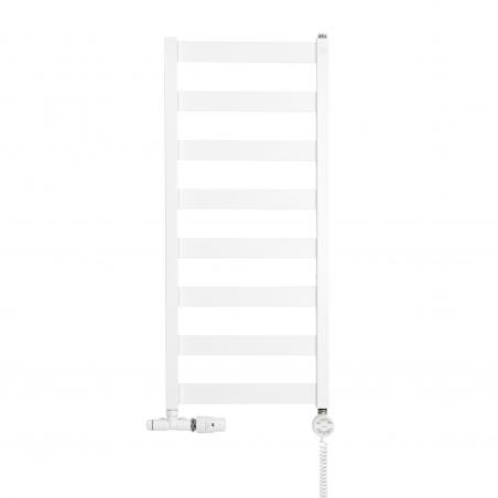 Grzejnik łazienkowy Leda o wymiarach 91x40cm w kolorze białym matowym z podłączeniem dolnym o rozstawie 37cm z białym przyłączem jednootworowym Unico firmy Vario term oraz z grzałką terma moa