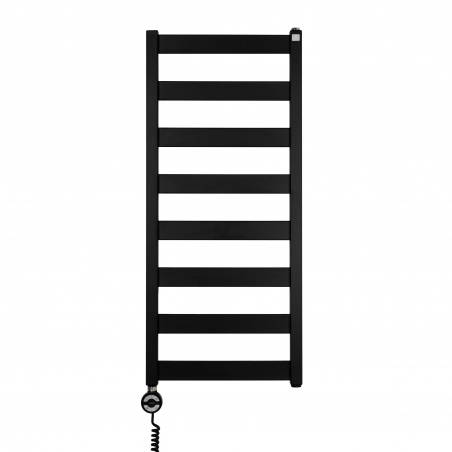 Grzejnik łazienkowy Terma Leda o wymiarach 91x40cm kolor czarny mat, podłączenie dolne o rozstawie 370mm z grzałką Terma Moa z lewej strony