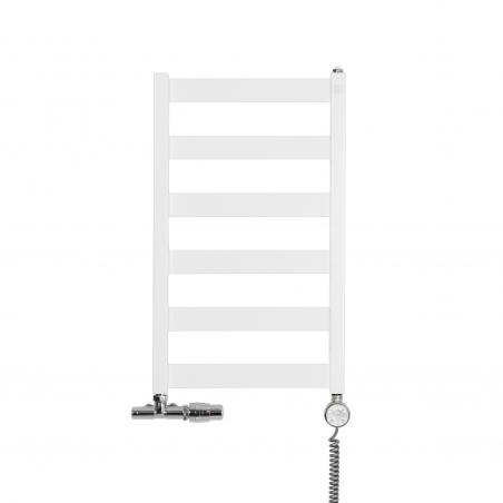 Grzejnik łazienkowy Leda o wymiarach 67x40cm w kolorze białym matowym z podłączeniem dolnym o rozstawie 37cm z chromowanym przyłączem jednootworowym Unico firmy Vario term, figura kątowa prawa, z grzałką elektryczną Terma Moa z prawej strony