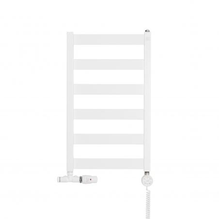 Grzejnik łazienkowy Leda o wymiarach 67x40cm w kolorze białym matowym z podłączeniem dolnym o rozstawie 37cm z białym przyłączem jednootworowym Unico firmy Vario term, figura kątowa prawa, z grzałką elektryczną Terma Moa z prawej strony